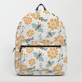 Honey Bees and Orange Flowers Backpack