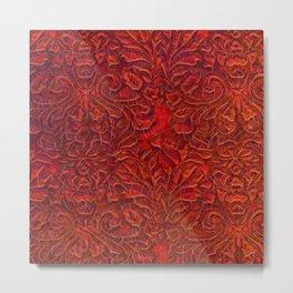 Burnt Orange Textured Abstract Metal Print
