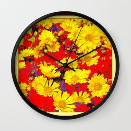 RED  & YELLOW COREOPSIS  FLORAL  ART DESIGN Wall Clock
