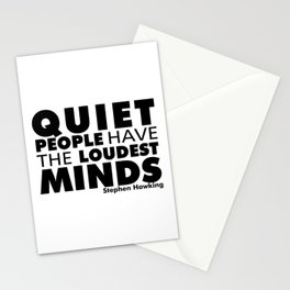 Quiet People have the Loudest Minds | Typography Introvert Quotes White Version Stationery Cards