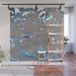 Greige, Gray, Beige, Teal, Navy and Purple Abstract Wall Mural
