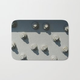 Part of metal framework, with group of nuts and bolts Bath Mat