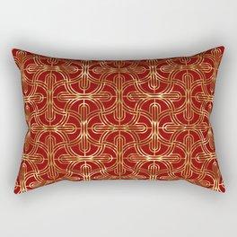 Art-deco gold foil look & burgundy pattern Rectangular Pillow