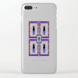 Beetle Insects Art Design in Purple,turquoise & Cream Colors Clear iPhone Case