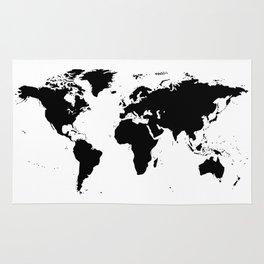 Black Ink World Map Rug