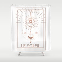 Le Soleil or The Sun Tarot White Edition Shower Curtain