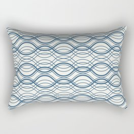 Blue Thin Overlapping Horizontal Lines Pattern on Off White Chinese Porcelain 2020 Color of the Year Rectangular Pillow