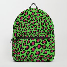 Pink Green leopard punk, pink animal print, green safari, psychobilly Backpack