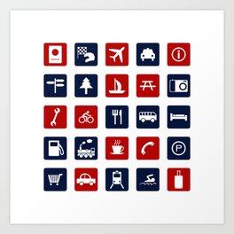 Travel Icons in RWB Art Print