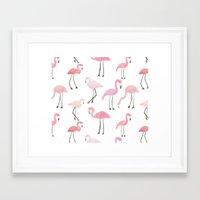 flamingos Framed Art Prints featuring Flamingos by Abby Galloway