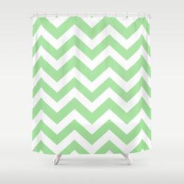 Granny Smith apple - green color - Zigzag Chevron Pattern Shower Curtain