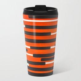 Orange Primitive Stripes Mid Century Modern Minimalist Watercolor Gouache Painting Colorful Stripes Travel Mug