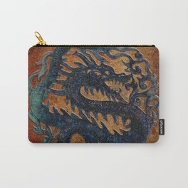 Blue Chinese Dragon on Stone Background Carry-All Pouch