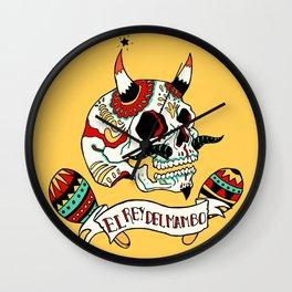 El rey del mambo Old School mexican skull Wall Clock