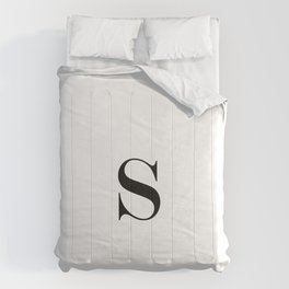 Monogram Letter S Black and White Comforters