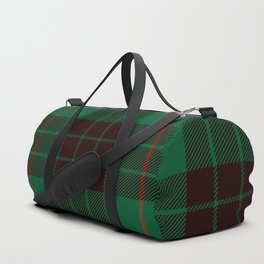 Dark Green Tartan with Black and Red Stripes. Large-Scale Plaid Pattern. Duffle Bag