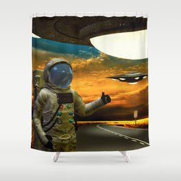 Hitchinghiking Across The Universe Shower Curtain
