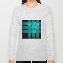 Abstraction .Weave turquoise satin ribbons . Patchwork . Long Sleeve T-shirt
