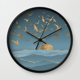 Blueprint and Gold Sea Scape Wall Clock