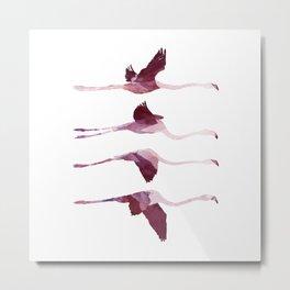 Flying Flamingos Metal Print