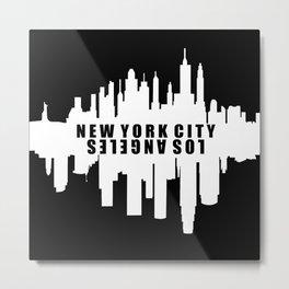New York City / Los Angeles Skyline Metal Print