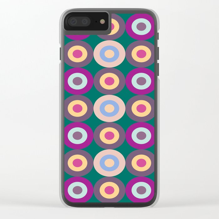 Seamless Colorful Circle Pattern Clear iPhone Case