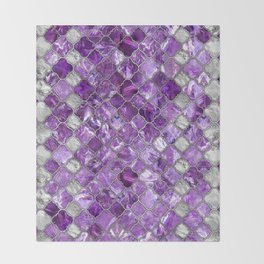 Quatrefoil Moroccan Pattern Amethyst and silver Throw Blanket