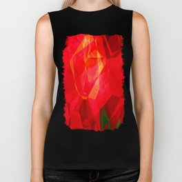 Mottled Red Poinsettia 2 Abstract Polygons 1 Biker Tank