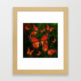 Dark Green Orange Monarch Butterflies Migration Framed Art Print
