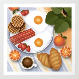 Breakfast illustration. Picnic outdoor scene, top view. Fried eggs, bacon, waffles, croissants, coffee, fruits and plants Art Print