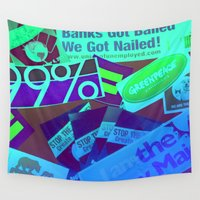 stickers Wall Tapestries featuring Bumper Stickers by Ellen Turner