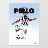pirlo Canvas Prints featuring Andrea Pirlo (no emblem) by Rudi Gundersen