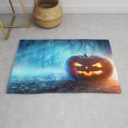 Halloween Jack O Lantern Pumpkin Head In Gloomy Forest Ultra HD Rug