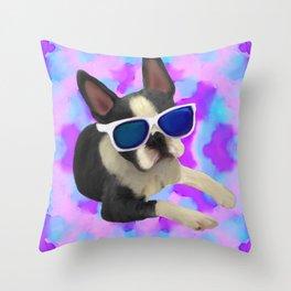 Black Boston Terrier Watercolor Throw Pillow