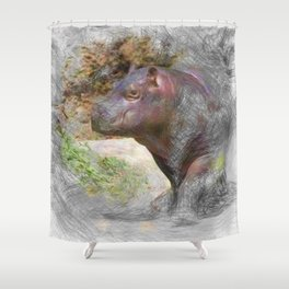 Artistic Animal Hippo Baby Shower Curtain