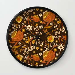 Australian Natives Wattle Gold Wall Clock