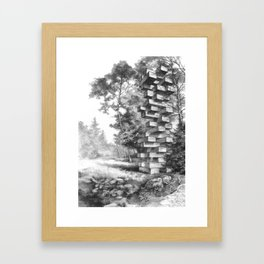 Jenga Tower Surrounded by Trees Framed Art Print
