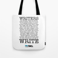 write Tote Bags featuring WRITERS WRITE! by John Kovalic