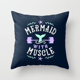 Mermaid With Muscle Throw Pillow