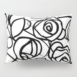 Bold Black Rose Print Pillow Sham