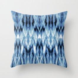 Blue Satin Shibori Argyle Throw Pillow
