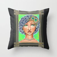 the great gatsby Throw Pillows featuring Great Gatsby by Jaymee Laws