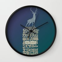 skyfall Wall Clocks featuring Skyfall - James Bond 007 by Rebecca McGoran