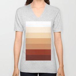 Burnt Orange Rainbow - Warm Red Gradient by Design by Cheyney Unisex V-Neck
