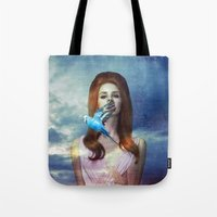 ultraviolence Tote Bags featuring I Hear The Birds by Wis Marvin