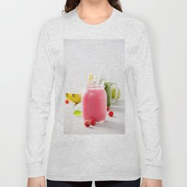Close-up of pink fresh smoothie with fruits and berries selective focus. Long Sleeve T-shirt