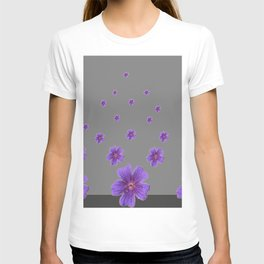 PURPLE FLOWERS COLLAGE CHARCOAL GREY T-shirt