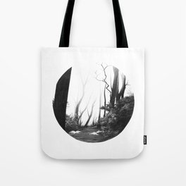 Graphite drawing landscape with fog, path and trees Tote Bag