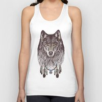 wolf Tank Tops featuring Wind Catcher Wolf by Rachel Caldwell
