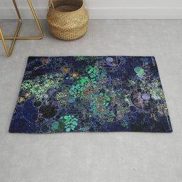 Dark Indigo Turquoise Abstract Design Rug